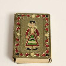 Antique Greek Guard Match Holder Cover Case Copper Brass Jewels Lion  Matches