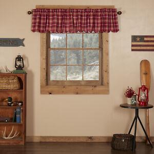 "VHC Brands Rustic 16""x90"" Valance Red Rod Pocket Braxton Kitchen Window Curtains"