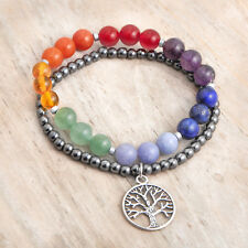 7 Chakra Gemstone Strech Bracelets, Tree of Life Charm, Reiki, Yoga, Balance