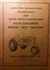 Allis Chalmers Wd Farm Tractor Operators Parts Amp Repair Manual 72pg Ac Ag Book