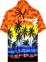 "LEELA Likre Vacation Camp Dress Party Shirt Orange 259 XL   Chest 48"" - 52"""