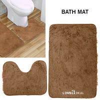 SHAGGY DESIGN BATH MAT SET Non Slip Pedestal Mat Toilet Bathroom Rugs Tan Brown