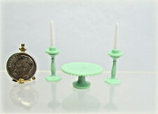 Dollhouse Miniature or Fairy Garden Jadeite Plastic Cake Plate and 2 Candle Set