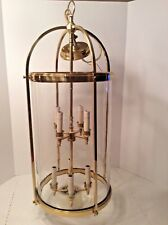 Polished Brass + Clear Glass Chandelier/Lantern Floating 8 Candleabra EUC