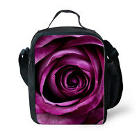 Insulated Lunch Box Cooler Bag Stylish Flower Bento Storage Bag for Women Girls