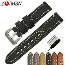 59f25e039 Watch Band Strap Thick Genuine Leather Longer Belt Silver Buckle 20 22 24mm  26mm