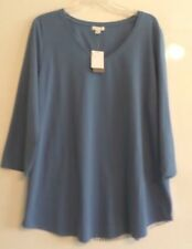 NWT-J.JILL STRIPED BACK VNECK TOP/TUNIC-XL-BLUE/WHITE-$69-3/4 SLEEVE-NICE!