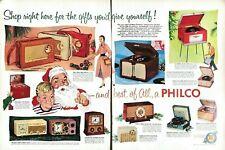 1955 Philco Radios Vintage Print Ad 2 Pages Record Player Christmas Gifts Santa
