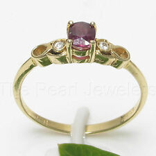 14k Solid Yellow Gold Genuine Diamonds & Oval Shaped Natural Red Ruby Ring TPJ