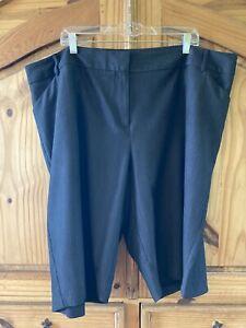 Women's Avenue Dark Gray Dressy Flat Front Chino Bermuda Shorts Size 24 - NWT