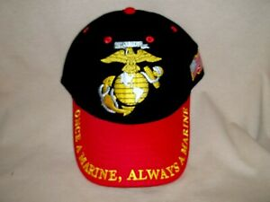 Colorful Marine Ballcap.  Black and Red with the Gold Marine Emblem in Front