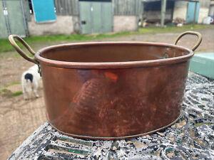 Vintage Large 1920s Copper Jam Oval Cooking Pot  Plant Kitchen Display Free Pp
