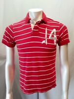 Aeropostale Men's Small Red White Striped Patch Logo Short Sleeve Polo Shirt