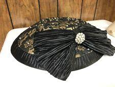 "VINTAGE LADIES' HAT WOVEN COVERED W/BLACK LACE PEARLS SEQUINS BIG BOW 22"" #40"