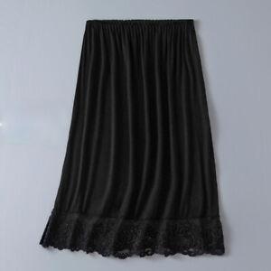 Women Lady Modal Lace Splice Skirt Underkirt Petticoat Mesh Half Slips Soft Thin