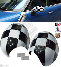 MINI COOPER S ONE R58 R59 R60 WING MIRROR CAPS COVER MANUAL FOLD ONLY CHECKERED