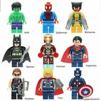 Marvel Avengers Lego Fit Iron Man Hulk  Superman Batman Thor Mini Figure