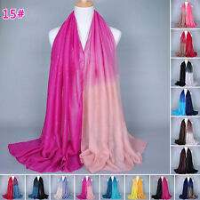 Charm Women Lady Voile Glitter Gradient Long Scarf Scarves Pashmina Wrap Shawl