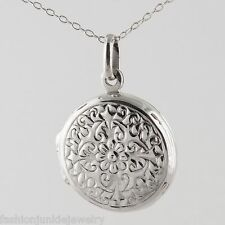 Round 2 Photo Locket Necklace - 925 Sterling Silver - Floral Locket Picture NEW