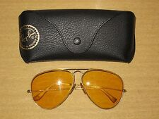 Vtg Ray Ban Bausch Lomb 58 14 Gold Aviators Amber Lens Outdoorsman Sunglasses
