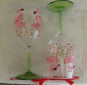 Brighten the Season - Acrylic Wine Glasses - PINK FLAMNGO with lights