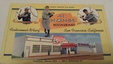 Joe DiMaggio's Restaurant postcard linen Curteich San Francisco 1940s