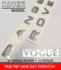 SILVER RANGE ROVER VOGUE LETTERS BADGE LETTERING L322 P38 REAR BONNET BOOT HOOD