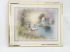 Andres Orpinas Picture Boy & Girl fishing at River with Colonial House-Signed