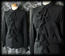 Gothic Black Fitted DESOLATION Frill Ruffle Jabot Blouse 10 12 Victorian Vintage