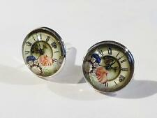 Gemelos Plateado Plata-Diseño de Reloj-Bolsa De Regalo-libre de Reino Unido P&p.. W1162