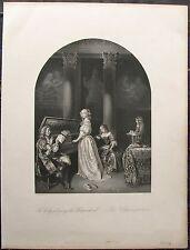 DIE KLAVIERSPIELERIN Klavier Genre. Orig. Stahlstich von ca. 1865