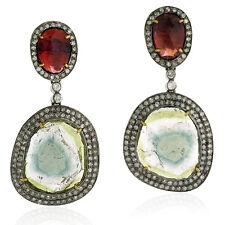 28.16ct Tourmaline Diamond Sterling Silver 18k Gold Dangle Earrings Jewelry