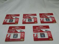 Transcend SDHC 16GB Premium 400x Class 10 UHS-I U1 Memory Card, Lot Of 5 New