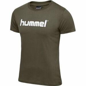 Hummel GO Baumwoll Logo T-Shirt Freizeit Sport Khaki/Weiß 203513-6084