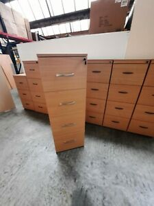 BEECH 4 DRAWER FOOLSCAP FILING CABINET. IN EXCELLENT CONDTION, WITH KEY