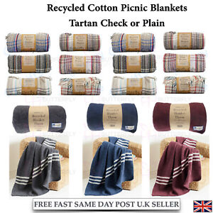 Eco Friendly Tartan or Plain Recycled Cosy Soft Fibre Blanket Throw Picnic Throw