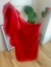 ASOS ONE SHOULDER ASYMMETRIC RUFFLE FOLD RED CORAL MINI DRESS TUNIC TOP 8