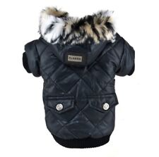 Hundebekleidung Hundejacke Hundemantel Schwarz Winterjacke XL Luxus Warm Fell