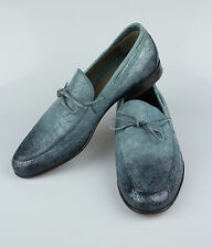 New BRIONI Blue Crocodile Leather Casual Boat Shoes Size 9/42