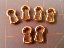 6 Vintage Brass Key Hole Covers Reproduction New Old Stock NOS