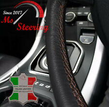 FOR TOYOTA SUPRA 93-98 BLACK LEATHER STEERING WHEEL COVER, BROWN STIT