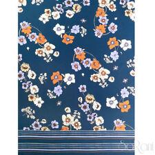 Tessuto al metro per Abbigliamento Georgette MANTA Blu Reale a Fiori Colorati