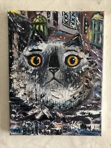 Cat In The Rain Original Oil Painting By Melissa Bollen New 21 White Himalayan