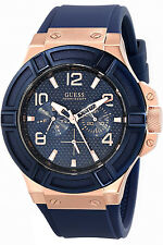 GUESS STEEL W0247G3,Men's Rigor Multifunction,Leather Strap,Screw Crown,100m