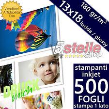 500 FOGLI CARTA FOTOGRAFICA 13X18 FOTO GLOSSY LUCIDA 180 GR. STAMPANTI INKJET