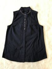 J Crew Navy Ruffle Jeweled Button Up Tank Blouse Size 2