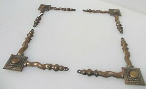 """Victorian Brass Furniture Hardware Antique Mounts Twisted Beading Corners Old 6"""""""