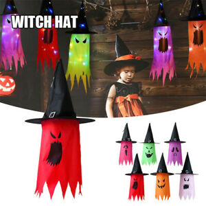 Halloween LED Witch Hat Scary Hanging Glowing Ghost Hat Garden Home Party Decor