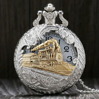 Charming Necklace Fashion Train Locomotive Carved Hollow Quartz Pocket Watch