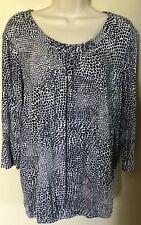 Croft & Barrow 3/4 Slv. Blk/Wht Elastic Hem Rayon/Spandex Pullover  Knit Top   L